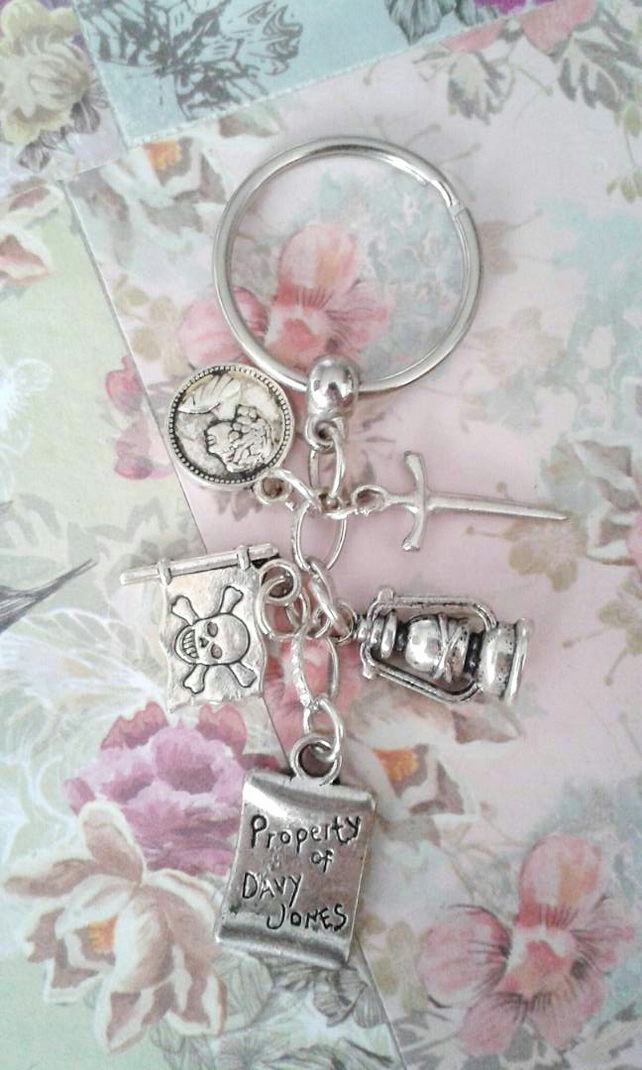 Pirates of the Caribbean inspired keyring bag charm gifts davy jones