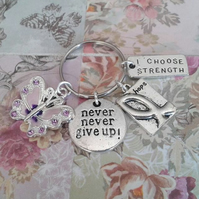 never never give up keyring purple butterfly hope i choose strength awareness