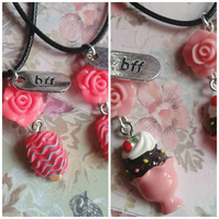 Set of 2 x girls necklaces to share with best friends bff split share twin gifts