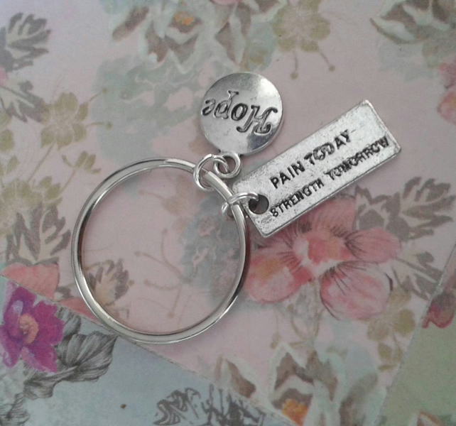 pain today strength tomorrow keyring bag charm keychain quote silver hope ribbon