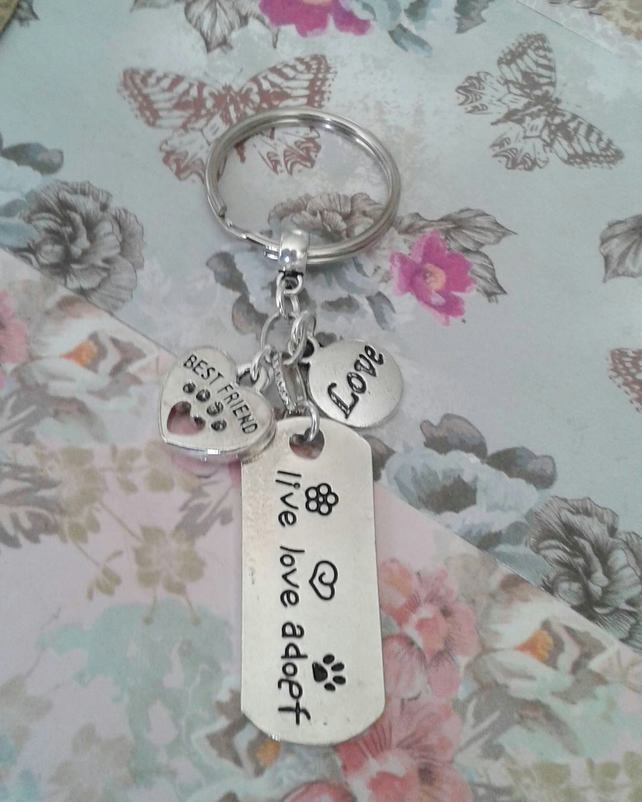 live love adopt keyring keychain bag charm animal lover pets