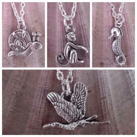 animal charm necklace tibetan silver & silver plated monkey snail seahorse goose