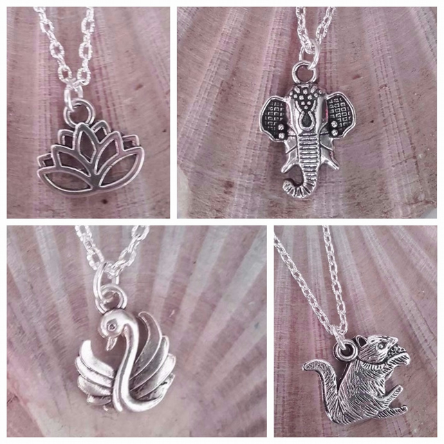 silver necklace choose squirrel swan lotus flower elephant animals gifts