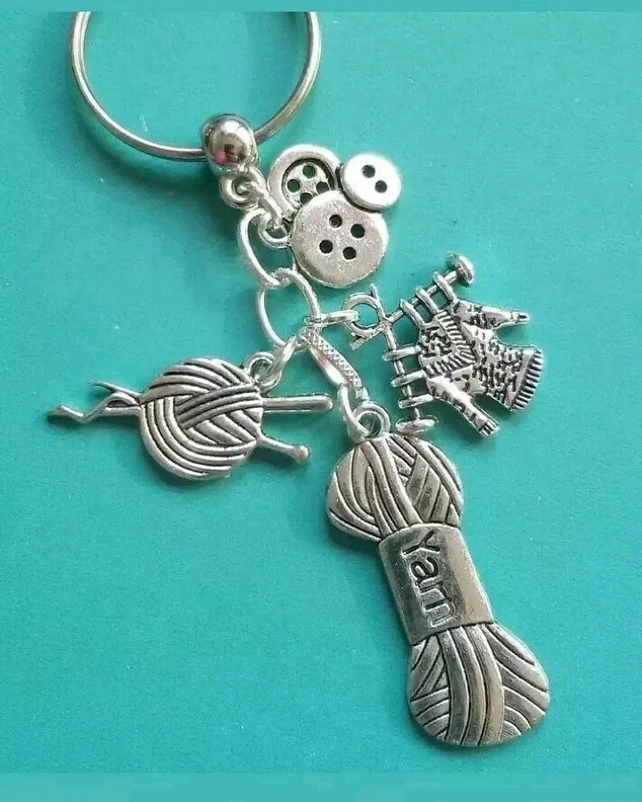 knitting keyring bag charm knit crafter birthday gifts