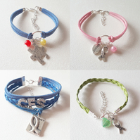 Awareness bracelet choose style spoonie autism  cfs breast cancer lymes disease
