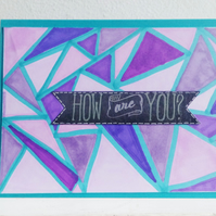 "Purple and Teal Geometric Pattern ""How are you?"" Card"