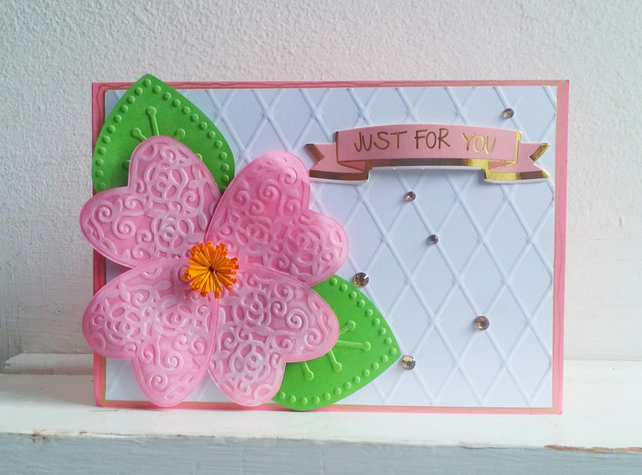Just For You Floral Birthday Greetings Card