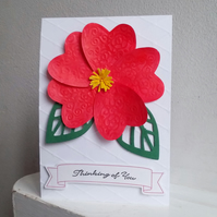 Thinking of You Red Floral Greetings Card