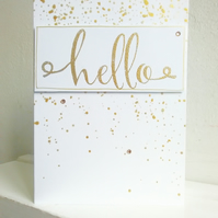 Greetings Card with Embossed Calligraphy Hello