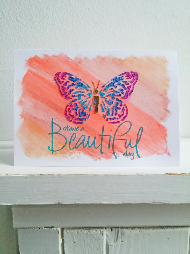 Watercolour Stencilled Butterfly Birthday Greetings Card