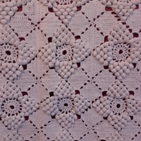 White Crochet Blanket. Lacy blackberry stitch patchwork upcycled French country