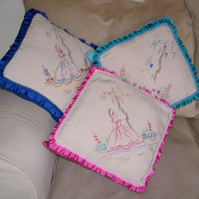 Set 3 Cushions one-offs in turquoise, pink, royal blue, embroidered and frilled