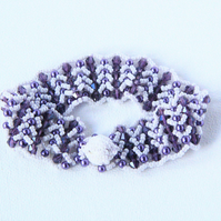 Hand woven purple and white chevron bracelet with handmade toggle clasp
