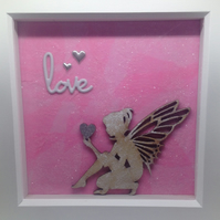 Love - Fairy Crouching Holding Heart - Picture Box Frame