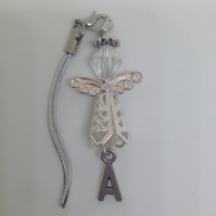 Christmas,Birthday,Baby Shower,Baptism,Angel Lover Beaded Angel Initial Charm
