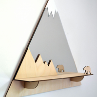 Decorative 'Grizzly' Mountain Peaks Mirror with shelf