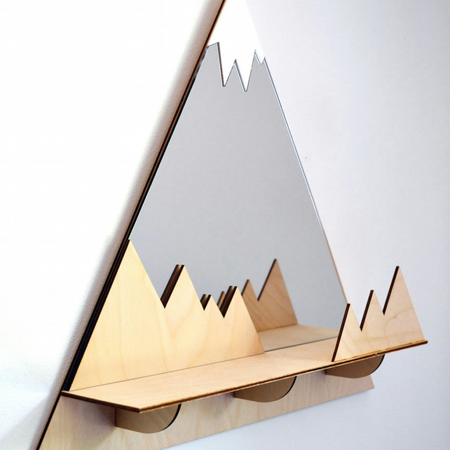 Decorative 'Peaks' Mountain Peaks Mirror with shelf