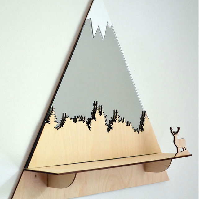 Decorative 'Stag' Mountain Peaks Mirror with shelf