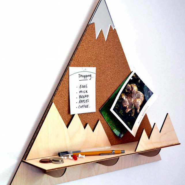 Mountain Peak Decorative Pin Corkboard And Shelf