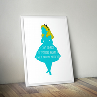 Alice in Wonderland Print, Poster, Mad Hatter, Quote, Movie A4 size 8.3 x 11.7