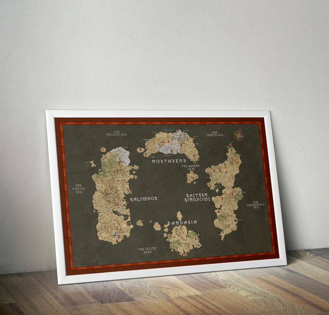Map of Azeroth, World of warcraft, Print, Poster, WOW 33.1 x 46.8 inches, A0