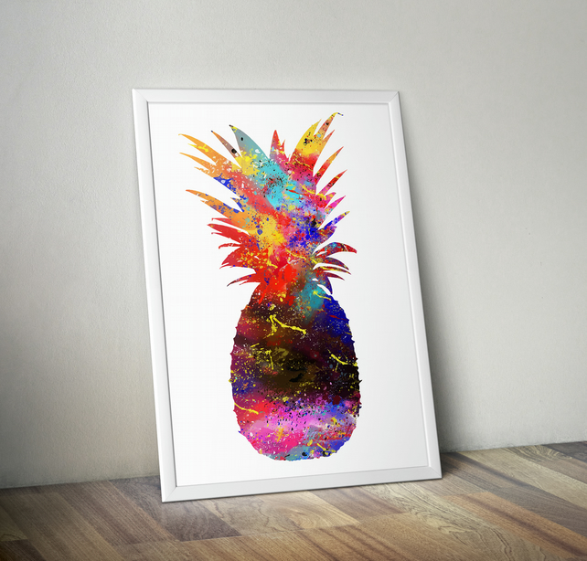 Pineapple Watercolor Art Print, Fruit Watercolor Art, A4 size 8.3 x 11.7
