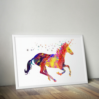 Unicorn Watercolor Art Print, Home Living, Animal A2 size 16.5 x 23.4 in