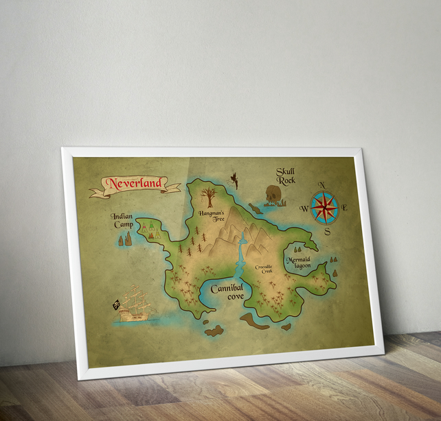 Neverland Map Poster, Print. Peter Pan Movie Disney 23.4 x 33.1 inches A1