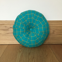 Green & Yellow Tartan Patchwork Pouffe Cushion