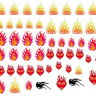 Flame Fire  Nail Decals