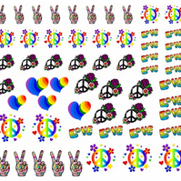 Hippy Groovy Peace  Nail Decals