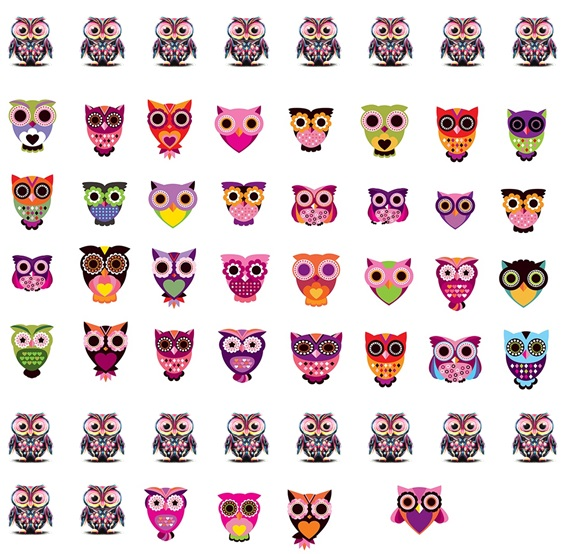 Colourful Owl  Nail Decals