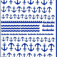 Anchor ( blue )  Press on  Nail Stickers