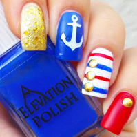 Anchor ( white  )  Press on  Nail Stickers