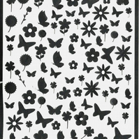 Butterfly And Flowers ( black )  Press on  Nail Stickers