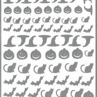 Halloween   ( Silver  )  Press on  Nail Stickers