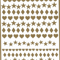 Heart Stars And Diamonds   ( Gold  )  Press on  Nail Stickers