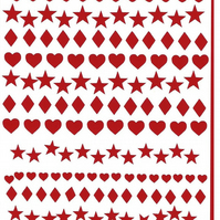 Heart Stars And Diamonds  ( red )  Press on  Nail Stickers