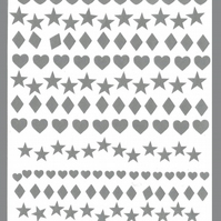 Heart Stars And Diamonds   ( Silver  )  Press on  Nail Stickers
