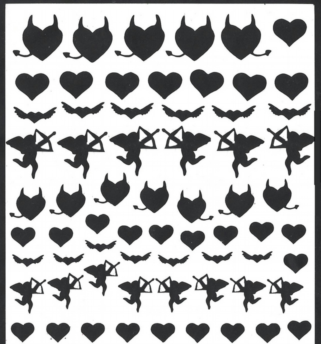 Love Is In The Air   ( Black  )  Press on  Nail Stickers