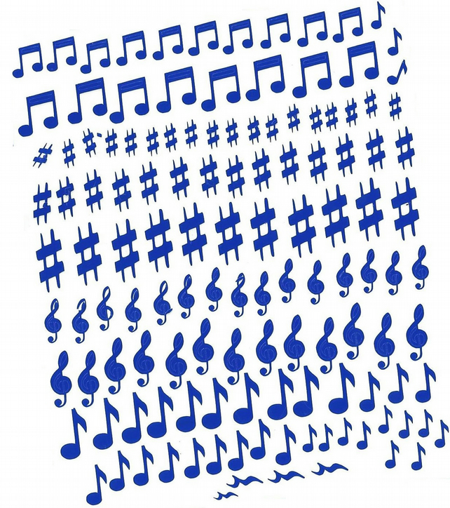 Musical Notes   ( Blue  )  Press on  Nail Stickers