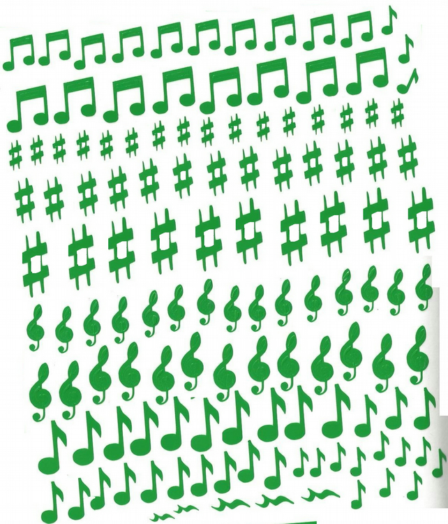 Musical Notes  ( Green   )  Press on  Nail Stickers
