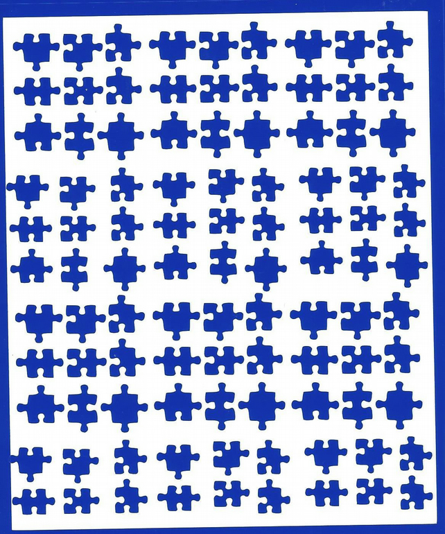 Puzzle  ( Blue )  Press on  Nail Stickers
