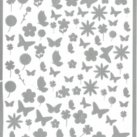 Butterfly and Flowers ( Silver )  Press on  Nail Stickers