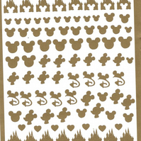 Disney   (Gold )  Press on  Nail Stickers