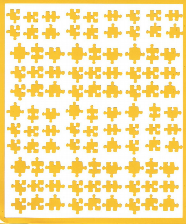 Puzzle  ( Yellow  )  Press on  Nail Stickers