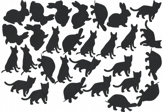 Rabbit Turtle Dog Cat Vinyl Decal Stickers (Black )  Peel and Stick  code 1
