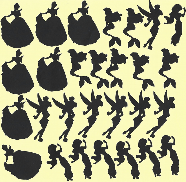 Disney princess  Vinyl Decal Stickers (Black )  Peel and Stick