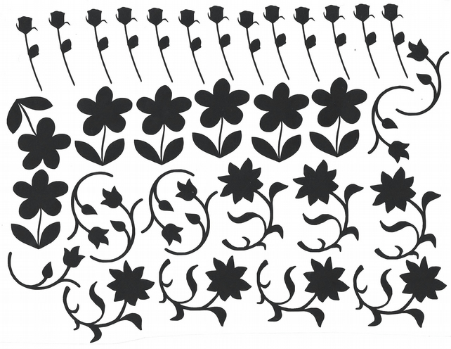 Flower  Vinyl Decal Stickers (Black )  Peel and Stick