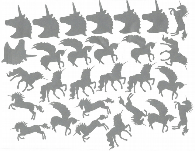 Unicorn Vinyl Decal Stickers ( Silver  )  Peel and Stick